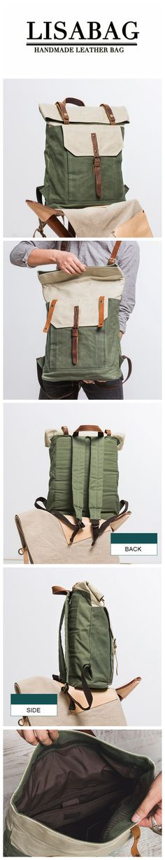 Handcrafted Canvas Leather Travel Backpack Casual Canvas Daypack Laptop Rucksack YD5191