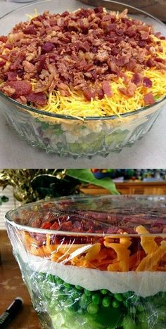 Classic Layered Salad with Peas . a favorite forever! Salad Bar, Soup And Salad, Cobb Salad, Side Salad, Great Recipes, Dinner Recipes, Favorite Recipes, Dinner Ideas, Layered Salad With Peas