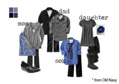 link to ideas on clothing for family photos
