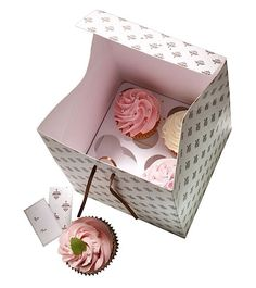 Cupcake Geschenkbox für 4 Cupcakes - 2 Stück