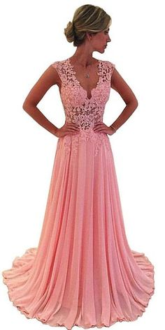 Lovelybride A Line See-through Appliques Long Chiffon Prom Evening Party Dress
