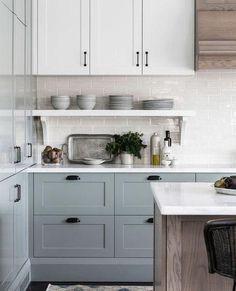 Blue Gray Kitchen Cabinets, Kitchen Cabinet Colors, Painting Kitchen Cabinets, Wood Cabinets, Blue Gray Kitchens, Kitchens With Painted Cabinets, Different Color Kitchen Cabinets, Annie Sloan Kitchen Cabinets, Cottage Kitchen Cabinets