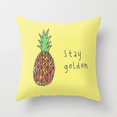 stay golden pineapple Throw Pillow by Peace Owl Forest - $20.00