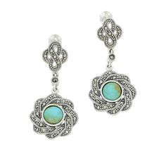 Turquoise Earrings Overlap Ribbon Drop Marcasite Silver | C W Sellors Fine Jewellery and Luxury Watches