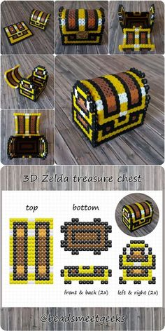 "Small ""Legend of Zelda"" Treasure Chest - DIY Perler Beads - Beadsmeetgeeks by lea Perler Bead Designs, Hama Beads Design, Diy Perler Beads, Perler Bead Art, Hama Beads Minecraft, Hamma Beads 3d, Fuse Beads, Pearler Beads, Pearler Bead Patterns"