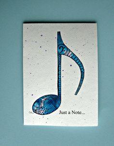 Watercolor card, (No.411), Zentangle musical note, music, zentangle, musical note, music art, greeting card