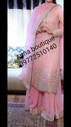 Pink gota worpink k suit Punjabi Salwar Suits, Designer Punjabi Suits, Indian Designer Wear, Sharara Suit, Patiala, Indian Suits, Indian Attire, Indian Dresses, Indian Wear