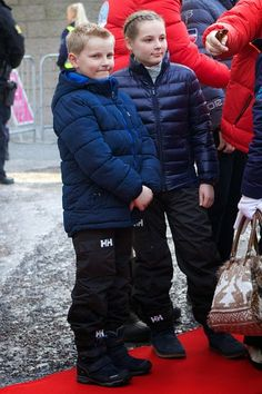 Norwegian Prince Sverre Magnus and his sister Princess Ingrid Alexandra attend the FIS Nordic World Cup on 15.03.2015 in Oslo, Norway
