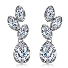 J.NINA 'Tranquil Beauty' Earrings with Punched Drop Design. Made with Swarovski Crystals, Featuring Transparent Jewelry for women *** Find out more details by clicking the image : Fashion Jewelry