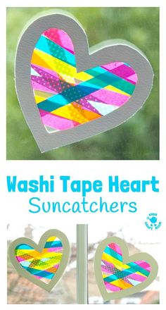 A heart craft with a WOW factor! This Washi Tape Heart Suncatcher craft is simpl… A heart craft with a WOW factor! This Washi Tape Heart Suncatcher craft is simple to make and looks amazing. A great Mother's Day or… Continue Reading → Valentines Day Activities, Valentine Day Crafts, Craft Activities, Preschool Crafts, Fun Crafts, Science Crafts, Kids Valentines, Decor Crafts, Room Crafts