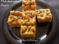Focaccia with whole wheat and soya bean flour. Yes didn't use refined flour in it. Tried to make a healthy bread for kids. And very happy with the taste. Its really delicious. Focaccia is a f…