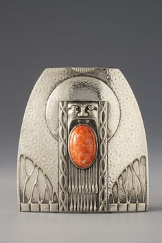 Belt fastener by Kirchgaessner & Kraft Co, 1902-05. Pressed and painted silver, glass flux | Leopold Museum, Vienna