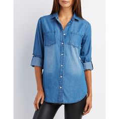 Charlotte Russe Chambray Button-Up Tunic ($26) ❤ liked on Polyvore featuring tops, tunics, medium wash denim, collared shirt, chambray shirt, button down shirts, blue button up shirt and blue long sleeve shirt