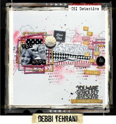 Case File No. 107 CSI: Color, Stories, Inspiration LO by Debbi Tehrani I really love the use of frames - want to try this.  What a fun way to layer.