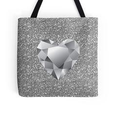 #DiamondHeart #SilverFauxGlitter #ToteBag by #MoonDreamsMusic