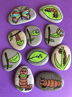 Butterfly life cycle - Montessori educational toy for preschooler, Home schooling - Kindergarten Basteln Pebble Painting, Pebble Art, Stone Painting, Stone Crafts, Rock Crafts, Preschool Crafts, Crafts For Kids, Preschool Science, Life Science