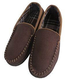 Men's Anti-slip Casual Pile Lined Microsuede Indoor Outdoor Slip On Moccasin Slippers (FBA)  Durable anti-slipping rubber sole.  High quality lined insole can keep your feet comfortable and warm.  Cozy Moccasin flat slippers are suitable for indoor, around the house and around the town wear.  Elegant appearance, and recommended for casual wear.  Please be kindly reminded that the slippers might be a bit large/loose for certain thin feet, especially for size 8.