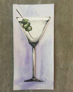 Cheers: Watercolor Martini Painting by CMarieStudio on Etsy