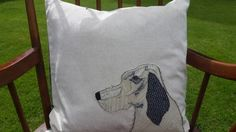 Gorgeous Handmade Applique Feather Cushion with Setter Dog Design £55.00