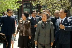 Daisaku Ikeda with Deng Yingchao, widow of the late Premier Zhou Enlai, at her home in Zhongnanhai in Beijing during his fifth visit to China (April 1980)