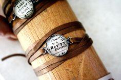 leather wrap bracelet - happy. $38.00, via Etsy.