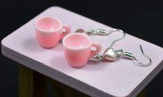 Cute pink tea cup earrings