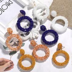 Round Pendant Drop Boho Beads Earrings 14.99 CAD Beaded Tassel Earrings, Bird Earrings, Cuff Earrings, Seed Bead Earrings, Statement Earrings, Seed Beads, Crochet Earrings, Kids Menu, Skirt Leggings