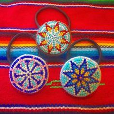 ターコイズのネイティヴヘアゴム達 2016.08.27 #handmadeaccessories #handmade #beadwork #beads #beadswork #ビーズ#ビーズ刺繍#刺繍#ヘアゴム#ネイティヴ#オルテガ#エスニック