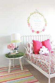 Minnen ikea bed for toddler - cloud face pillow - grass top table!