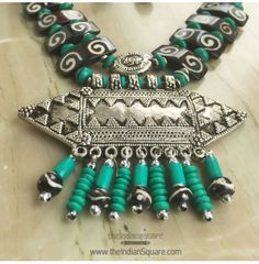 #Tribal #Green #Beaded #Metal #Pendant #Neckpiece traditional designed. CASH ON DELIVERY available.