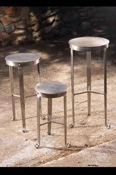 Nickel Plated Rounded Metal Tables.  Recommended for Indoor Use Only $172.50 - $235.00