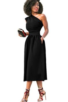 a70c5a4f3b26 Women Black One Shoulder Ruched Pleated Pockets Sexy A Line Midi Party Dress  - L Red