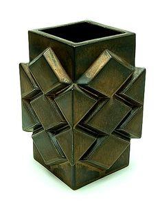 Stoneware brass coloured Multipel vase design by Jan van der Vaart the Netherlands 1978 executed by Makkum / the Netherlands 1978