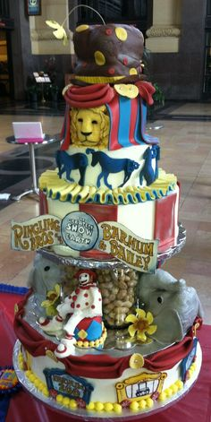 Special circus cake made for the Barnum and Bailey Circus when they came to town. Made by 3 Women and an Oven   http://www.3womendesserts.com/