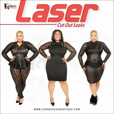 LASER CUT-OUT LOOKS ❤  LASER CUT-OUT PANT SET 1X  CAMI LASER CUT-OUT SLEEVES DRESS 2X  LASER CUT-OUT T-SHIRT DRESS 1X  SIZE  1X  2X  3X  WWW.CURVACEOUSBOUTIQUE.COM & IN STORE ❎VISIT THE WEBSITE FOR ALL DETAILS and PRICE ❎  WE SHIP WORLDWIDE