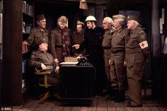 Actors in the Dads Army television series including Arthur Lowe, John Le Mesurier, Ian Lavender, Bill Pertwee, John Laurie and Clive Dunn Dad's Army, Army Police, Jimmy Perry, John Le Mesurier, John Laurie, Home Guard, Great Memories, Childhood Memories, Bbc Tv Series