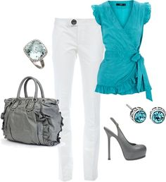 """""""Aqua Wear to Work"""" by karenamber on Polyvore"""