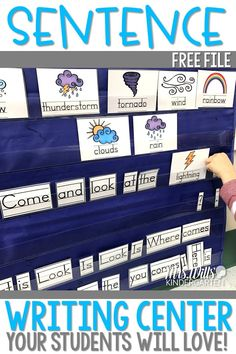 Kindergarten Sentence Writing can be made easy! Check out how I introduce sentence writing as a literacy center. Then we build on it to make this a year-long literacy activity. FREE File included
