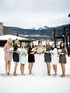 Winter Bridesmaids -- Cold but Cute!! See the wedding on http://www.StyleMePretty.com/2014/04/03/colorado-new-years-eve-wedding-at-devils-thumb-ranch/ www.KelliLynPhotography.com