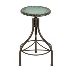 "28"" Rustic Industrial Metal Bar Stool in Distressed Charcoal Oil Rubbed Featuring Weathered Teal Round Metal Seat. Dimension: 28""H, 17""WMaterial: Iron MetalColo"