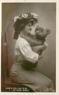 Real Photo Smiling Woman Holding Teddy Bear Hat Early Q47349 | eBay