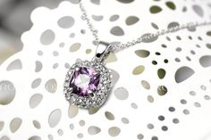 Timeless beauty radiates from this sparkling amethyst necklace. Gemstones is surrounded by shimmering crystals. The necklace dangles off an 20 inch silver rolo Amethyst Necklace, Pendant Necklace, Timeless Beauty, Daily Deals, Beautiful Necklaces, Plating, Dangles, Delicate, Jewelry Necklaces
