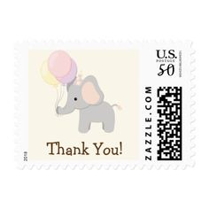 Baby Elephant; Purple Jungle Animal Thank You Postage