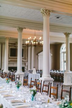 John's College in Annapolis offers a variety of venues for conferences or private functions. Consider renting the Hodson Boathouse, Great Hall, or Dining Hall for your next event! College Campus, Neoclassical, Wedding Designs, Wedding Venues, Dream Wedding, Table Decorations, Dining, Wooden Chairs, Maryland
