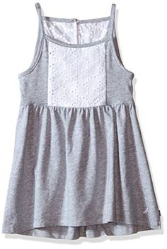 Nautica Big Girls Jersey Dress with Eyelet Detail Light Gray Heather 10 >>> You can find out more details at the link of the image.