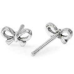 Ribbon Bow Sterling Silver Stud Earrings $7.47 - must. Have.