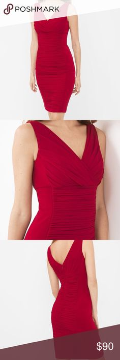"""INSTANTLY SLIMMING RUCHED DRESS New without tags. Instantly slimming ruched dress in luscious red with built-in shapewear that instantly slims. Wrinkle-free fabric. Ruched middle on front and back Invisible back zip with hook-and-eye closure Approx. 38 1/2"""" from shoulder; 1"""" above knee 100% polyester. Machine wash cold. White House Black Market Dresses"""