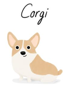 Corgi - Cute Dog Series Art Print by Cassandra Berger - X-Small Cute Corgi, Corgi Dog, Pet Dogs, Dog Illustration, Pembroke Welsh Corgi, Sleeping Dogs, Dog Art, Pet Birds, Your Dog