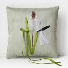 Dragonfly Ring Pillow. rustic country wedding. ribbon embroidery.. $45.00, via Etsy.