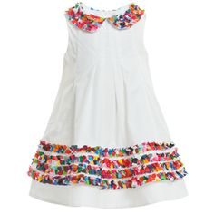 Simonetta  White Cotton Multicolour Ruffle Dress at Childrensalon.com
